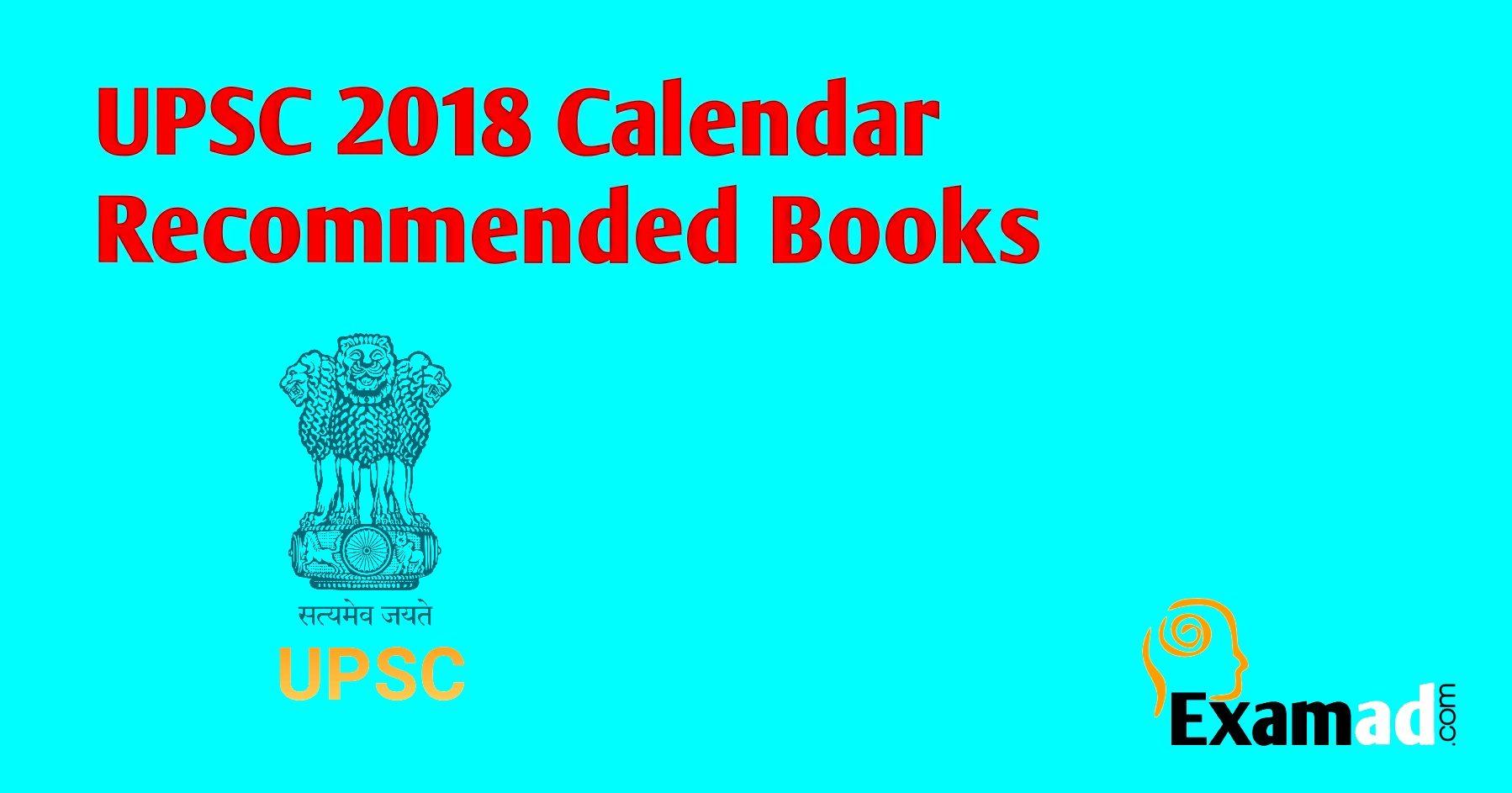 UPSC 2018 calendar