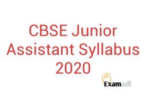 CBSE Junior Assistant Syllabus 2020